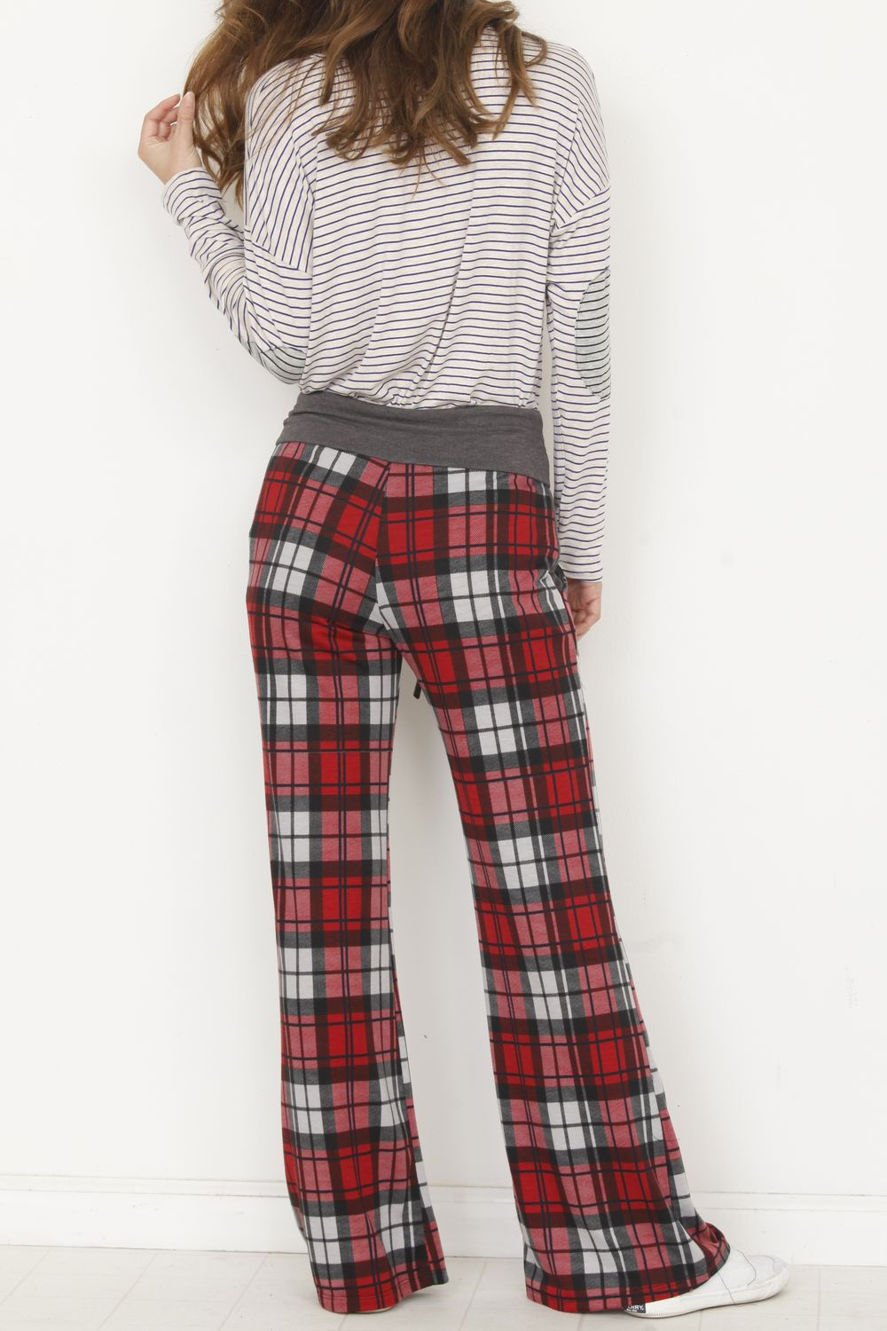 Charcoal Band Red Plaid Drawstring Lounge Pants_Plus