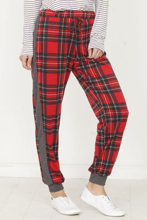 Red Plaid Drawstring Charcoal Side Jogger