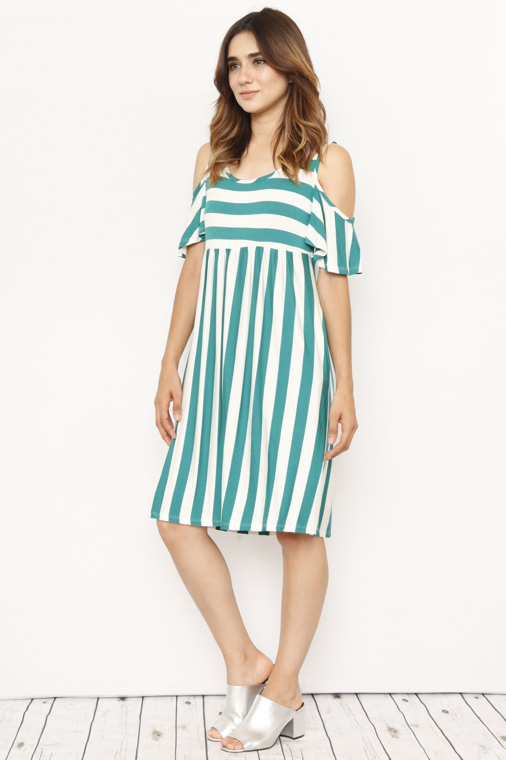 Green Stripe Cold Shoulder Midi Dress