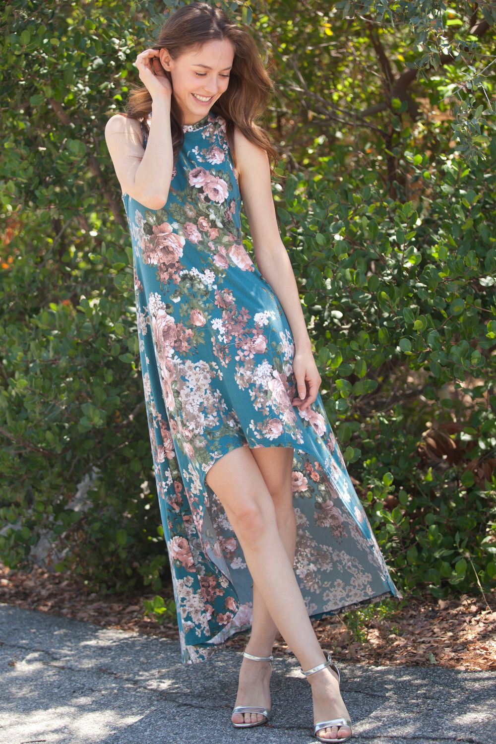 Teal Floral High Low Maxi Dress