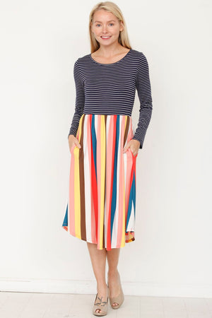 Multi Color Stripe Midi Dress