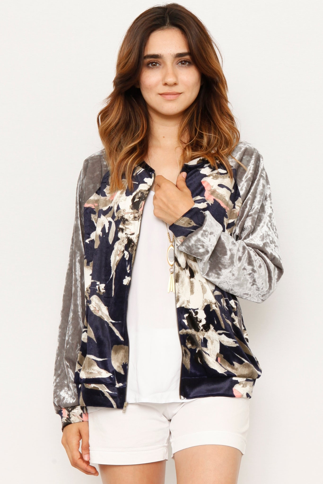 Navy Crushed Velvet Bomber Jacket