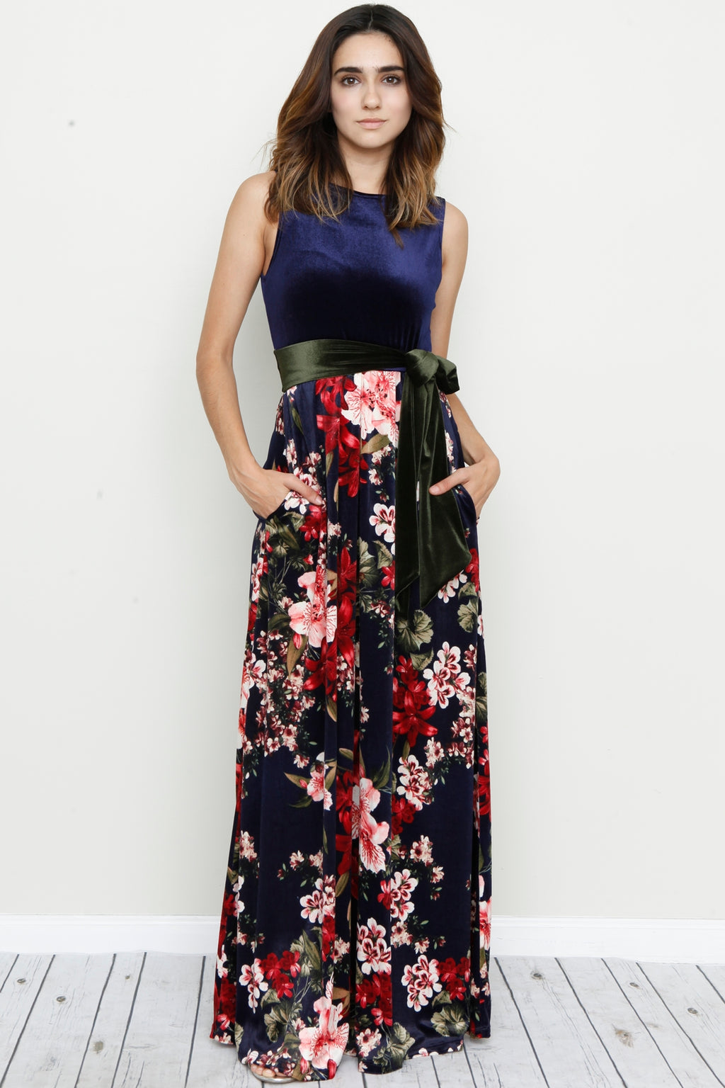 Velvet Navy Sleeveless Floral Maxi Dress with Sash_S