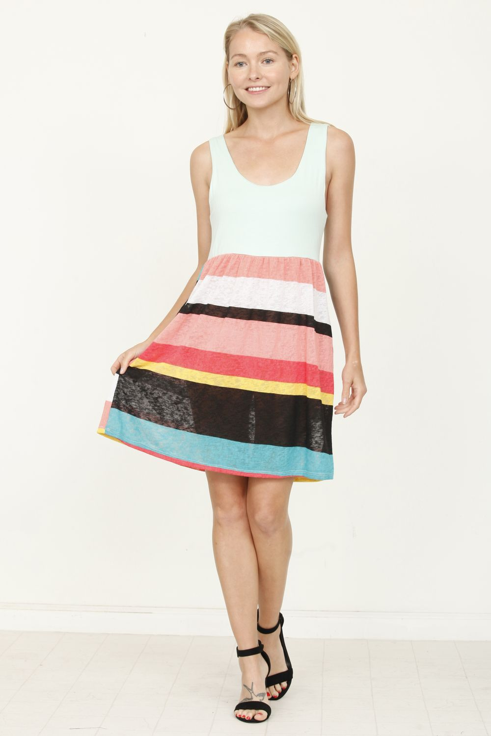 Mint Sleeveless Multi Color Stripe Mini Dress