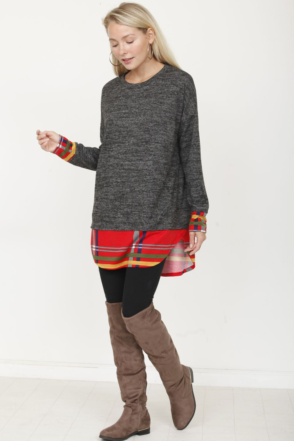 Charcoal & Red Plaid Layered Tunic