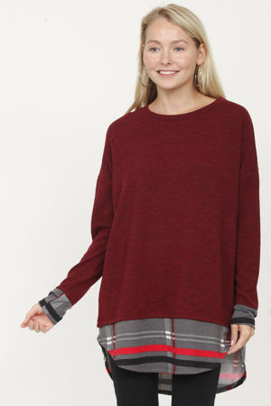 Burgundy & Charcoal Plaid Layered Tunic