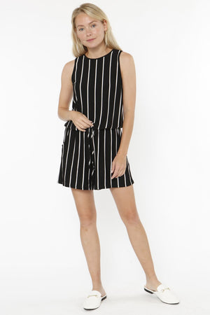Black Stripe Sleeveless Romper