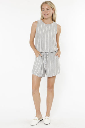 Grey Stripe Sleeveless Romper_Plus