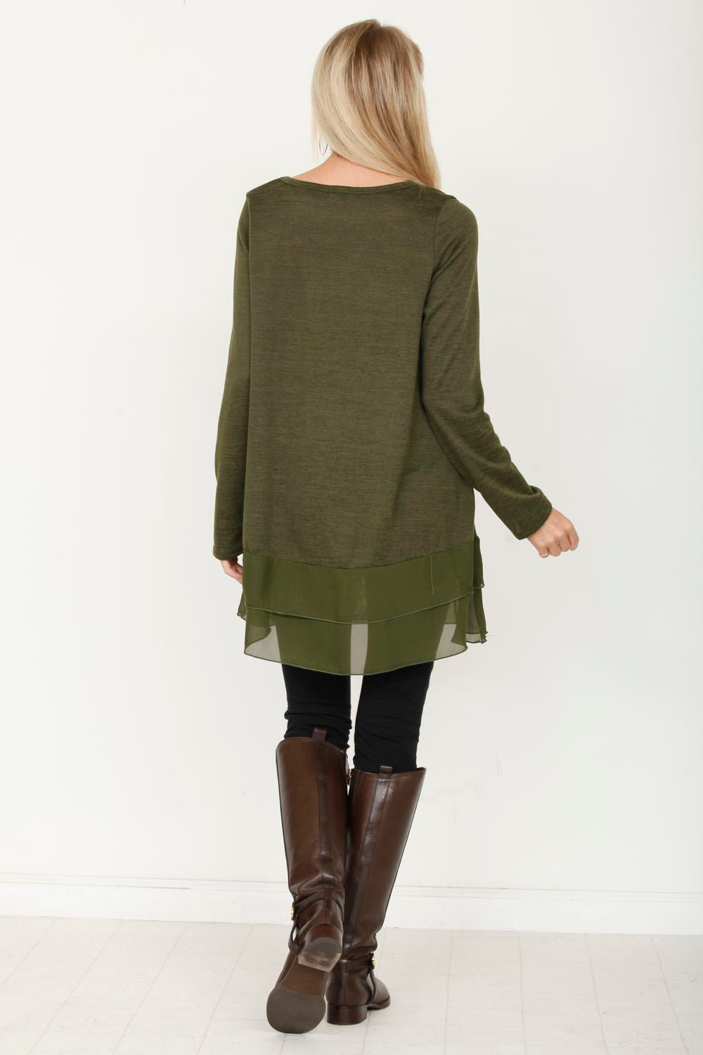 Olive Double Ruffle Tunic
