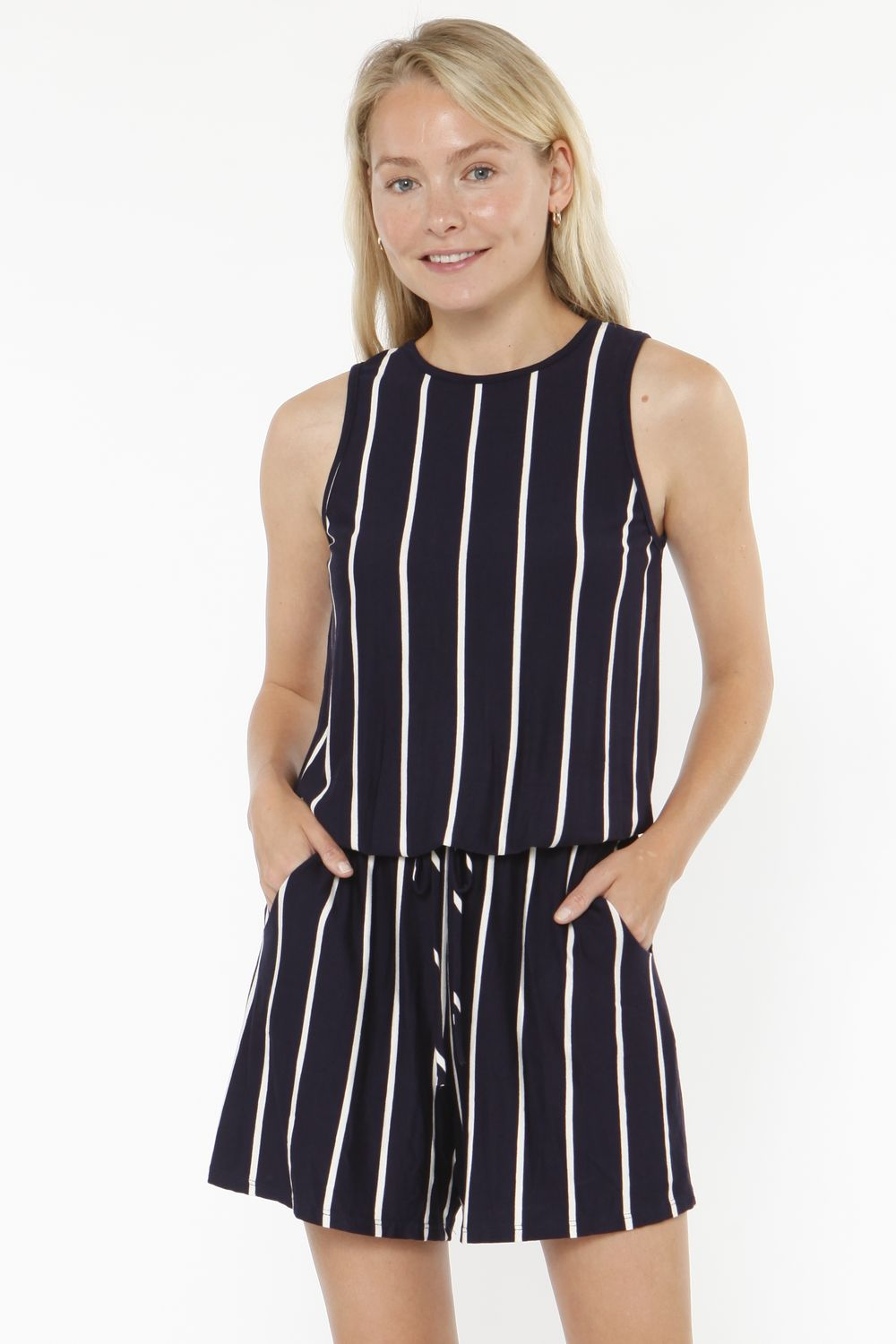 Navy Stripe Sleeveless Romper