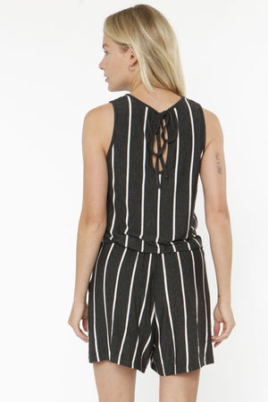 Charcoal Stripe Sleeveless Romper