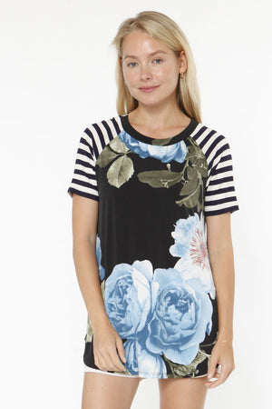 Black Aqua Floral Black Stripe Raglan Sleeve Top_Plus