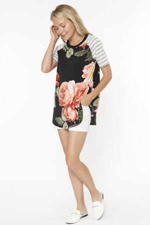 Black Coral Floral Grey Stripe Raglan Sleeve Top