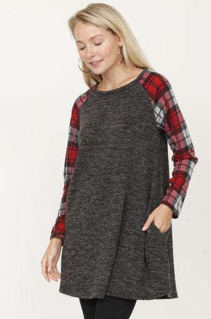 Plaid Sleeve Aline Tunic with Pocket