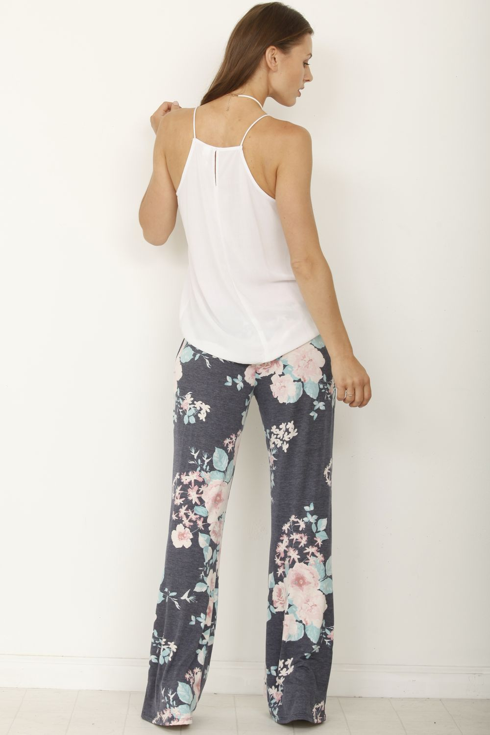 Pink Band Navy Floral Fold-Over Pants