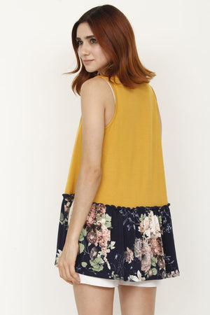 Mustard & Navy Floral Sleeveless Tunic