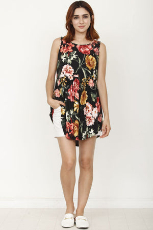 Black Floral Pleated Tunic