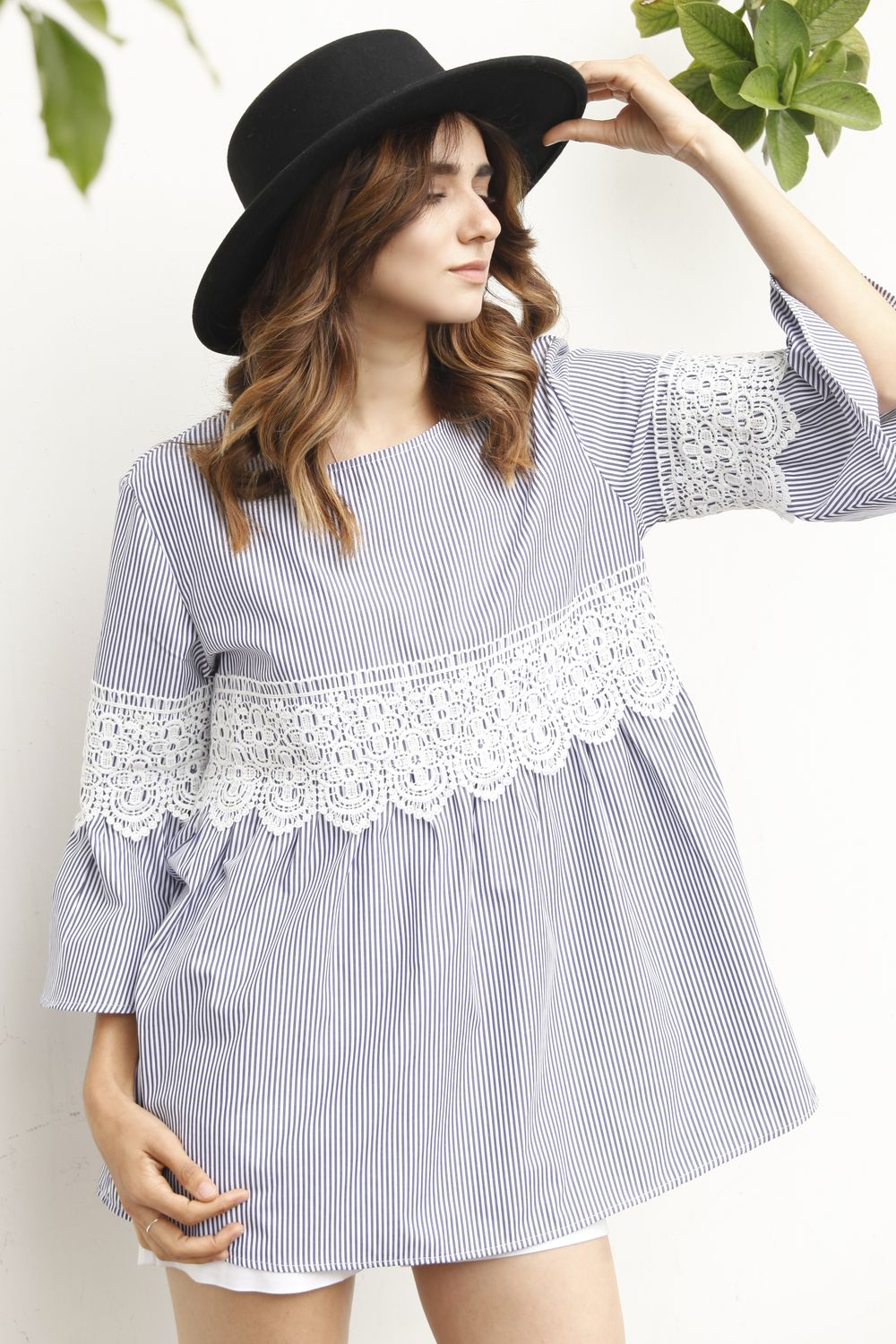 Blue Stripe Ruffle Sleeve with Lace Tunic