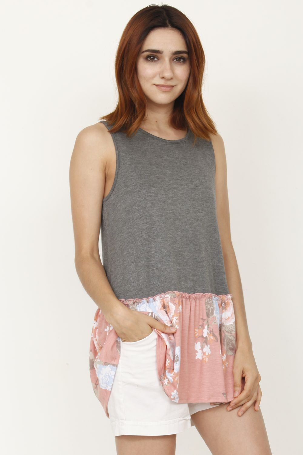 Charcoal & Pink Floral Sleeveless Tunic