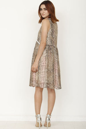 Pink Sleeveless Pompom Snake Print Dress