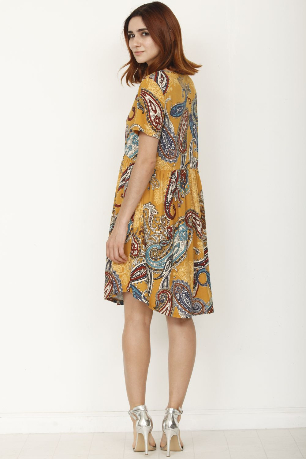 Mustard Paisley Short Sleeve Curved Hem Dress