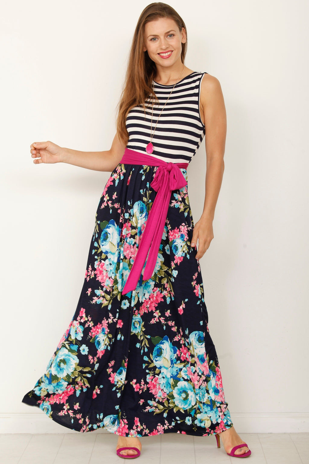 Stripe Sleeveless Navy Aqua Floral Maxi Dress with Sash_S