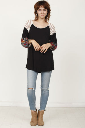 Black Paisley 3/4 Bishop Sleeve Raglan Top