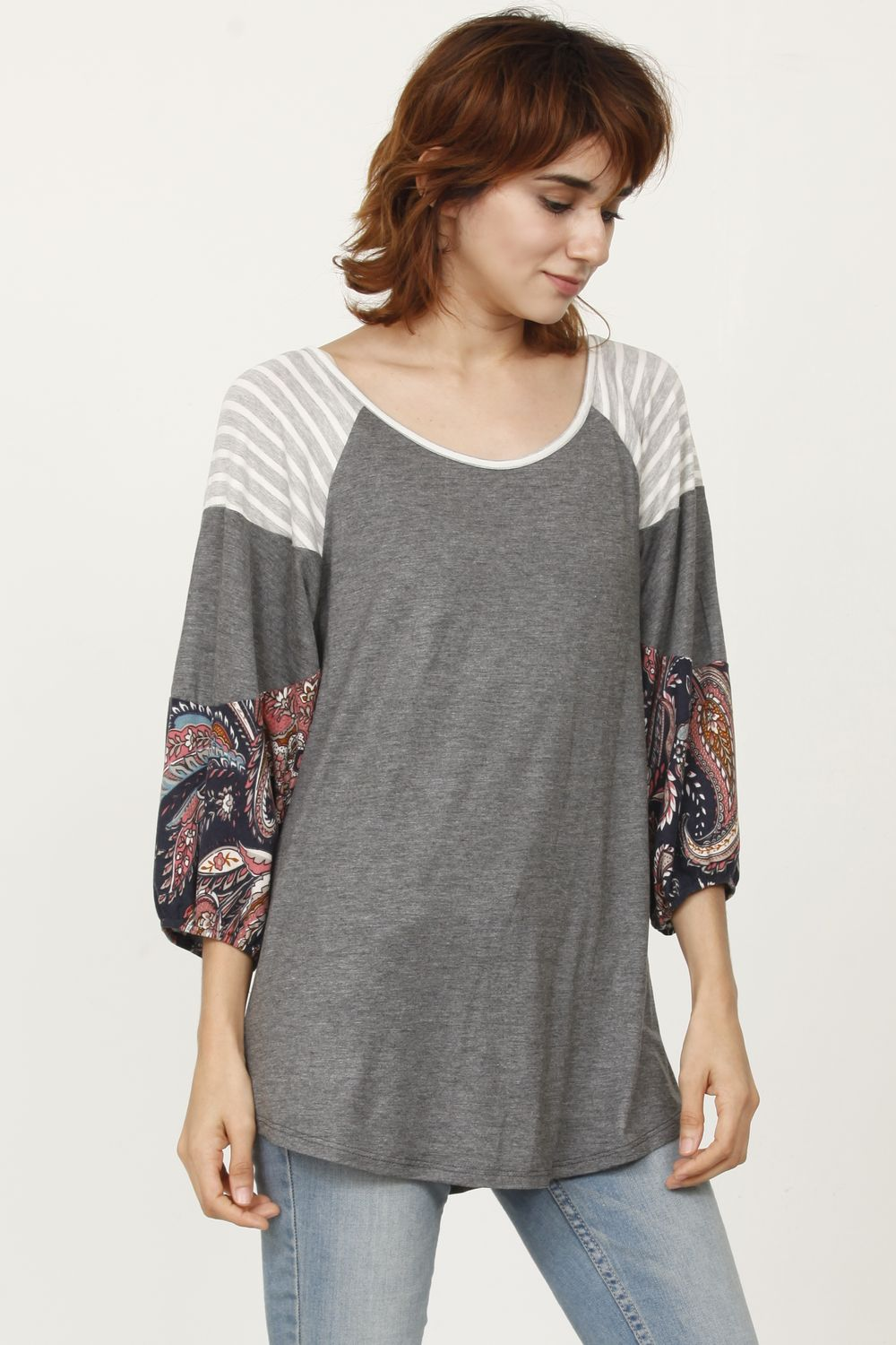 Charcoal Paisley 3/4 Bishop Sleeve Raglan Top