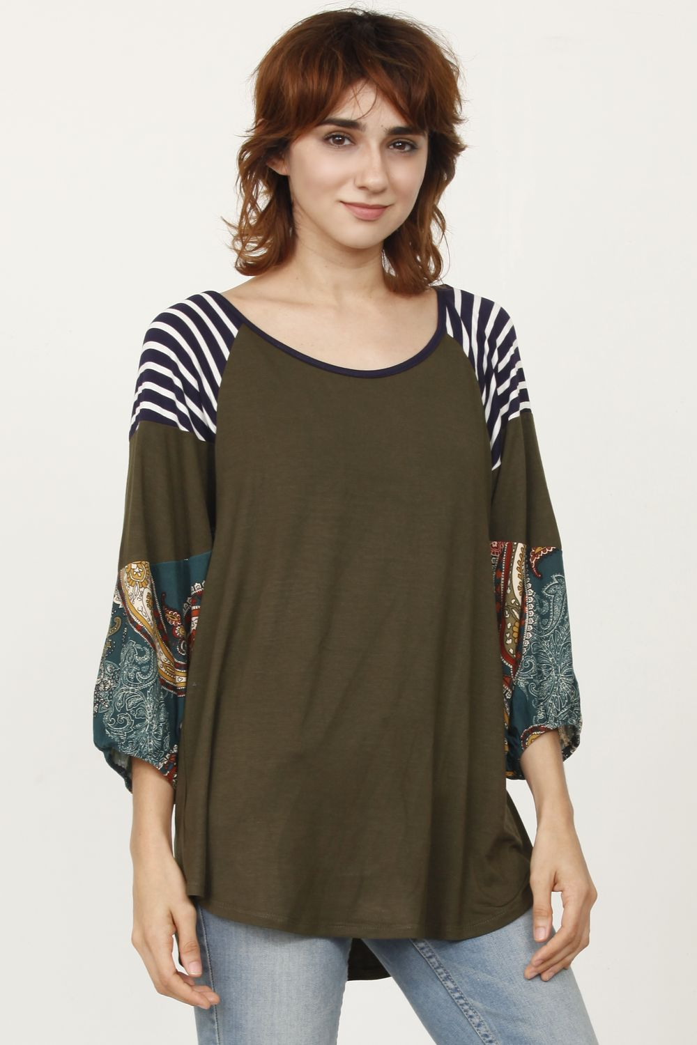 Olive Paisley 3/4 Bishop Sleeve Raglan Top