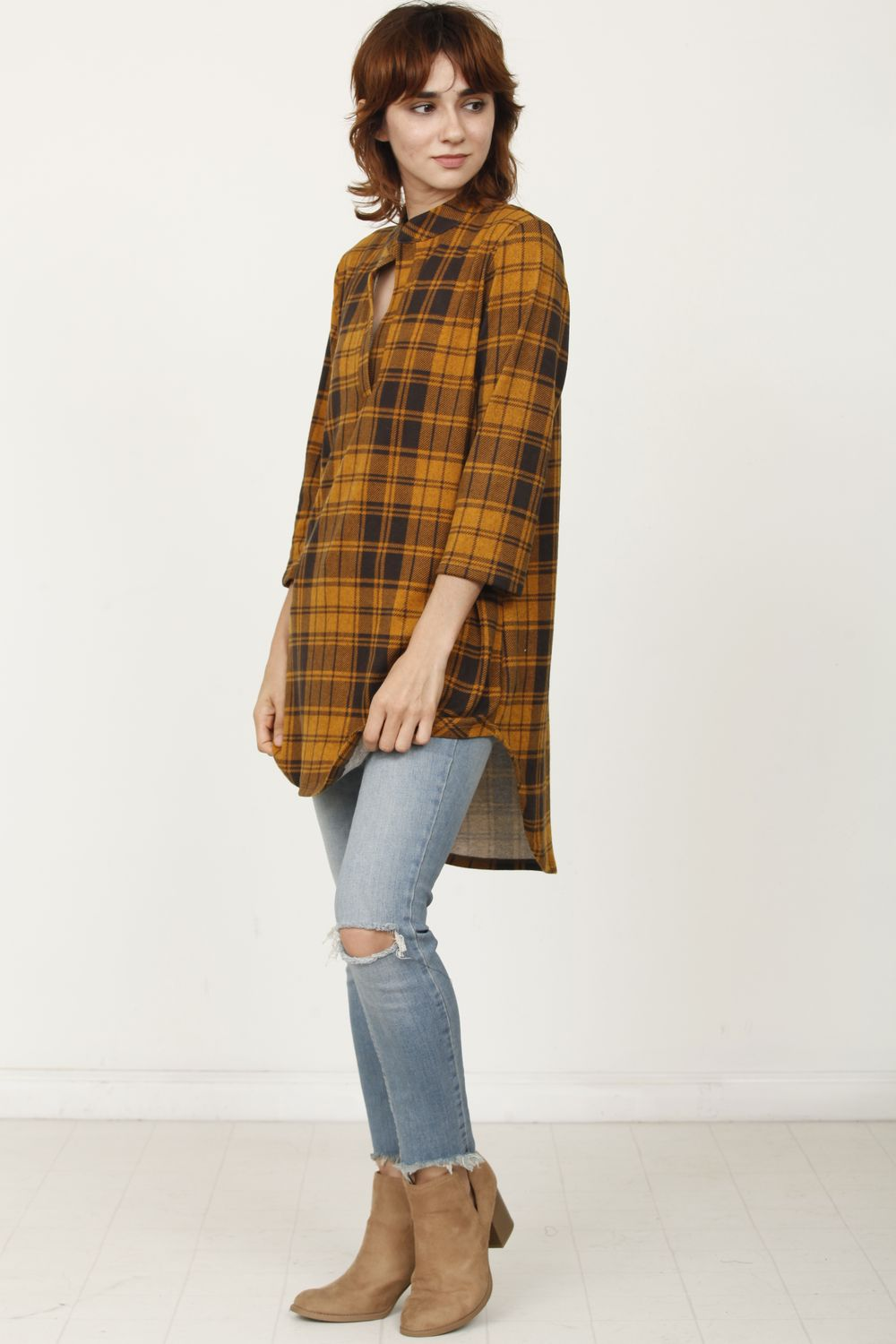 Orange Plaid Notch Neck Shirt Tunic_2XL