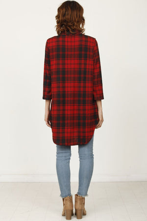 Red Plaid Shirt Tunic