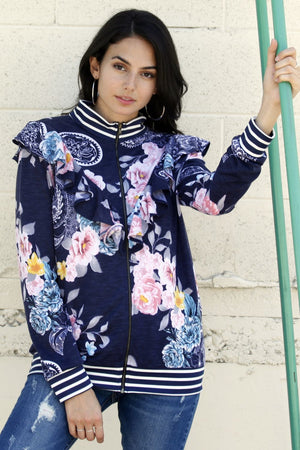 Navy Vintage Floral Ruffle Bomber Jacket