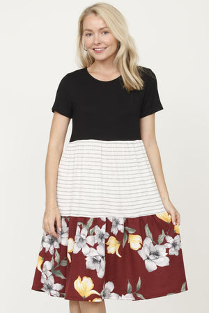 Short Sleeve Black Burgundy Floral Tiered Dress