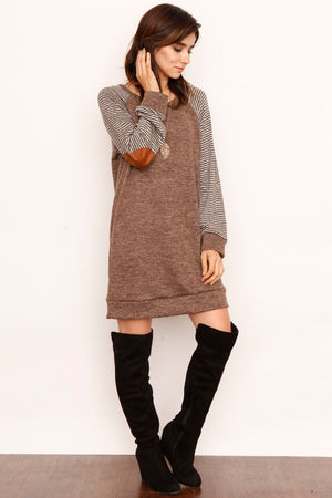 Stripe Sleeve Elbow Patch Tunic