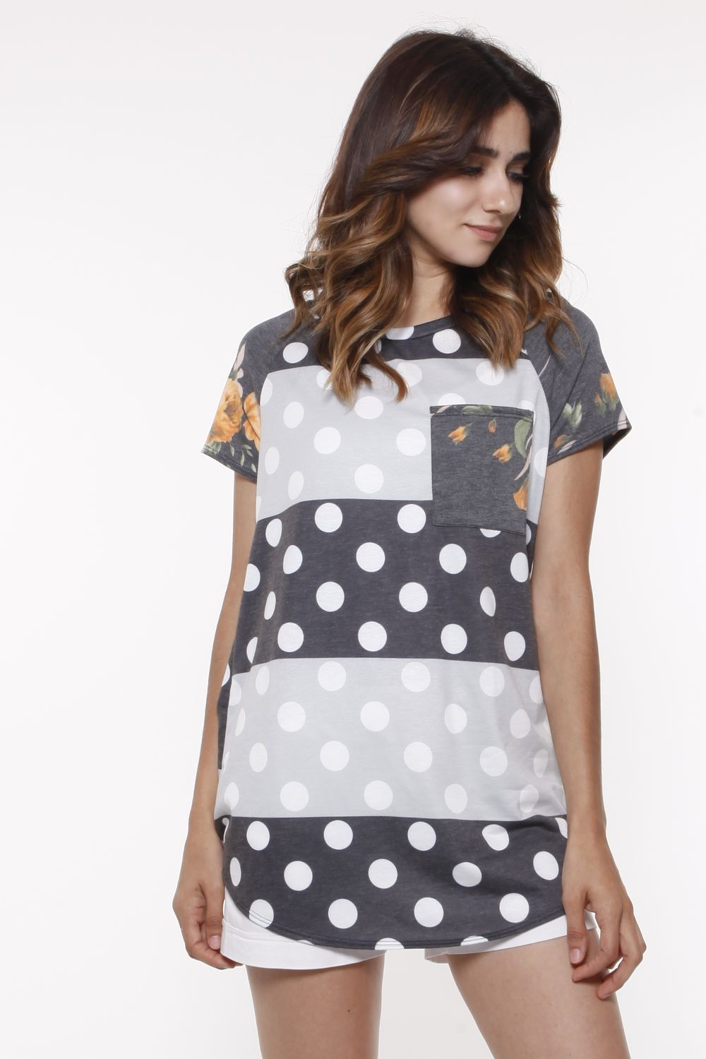 Charcoal & Grey Color-Block Polka Dot Top with Floral Pocket