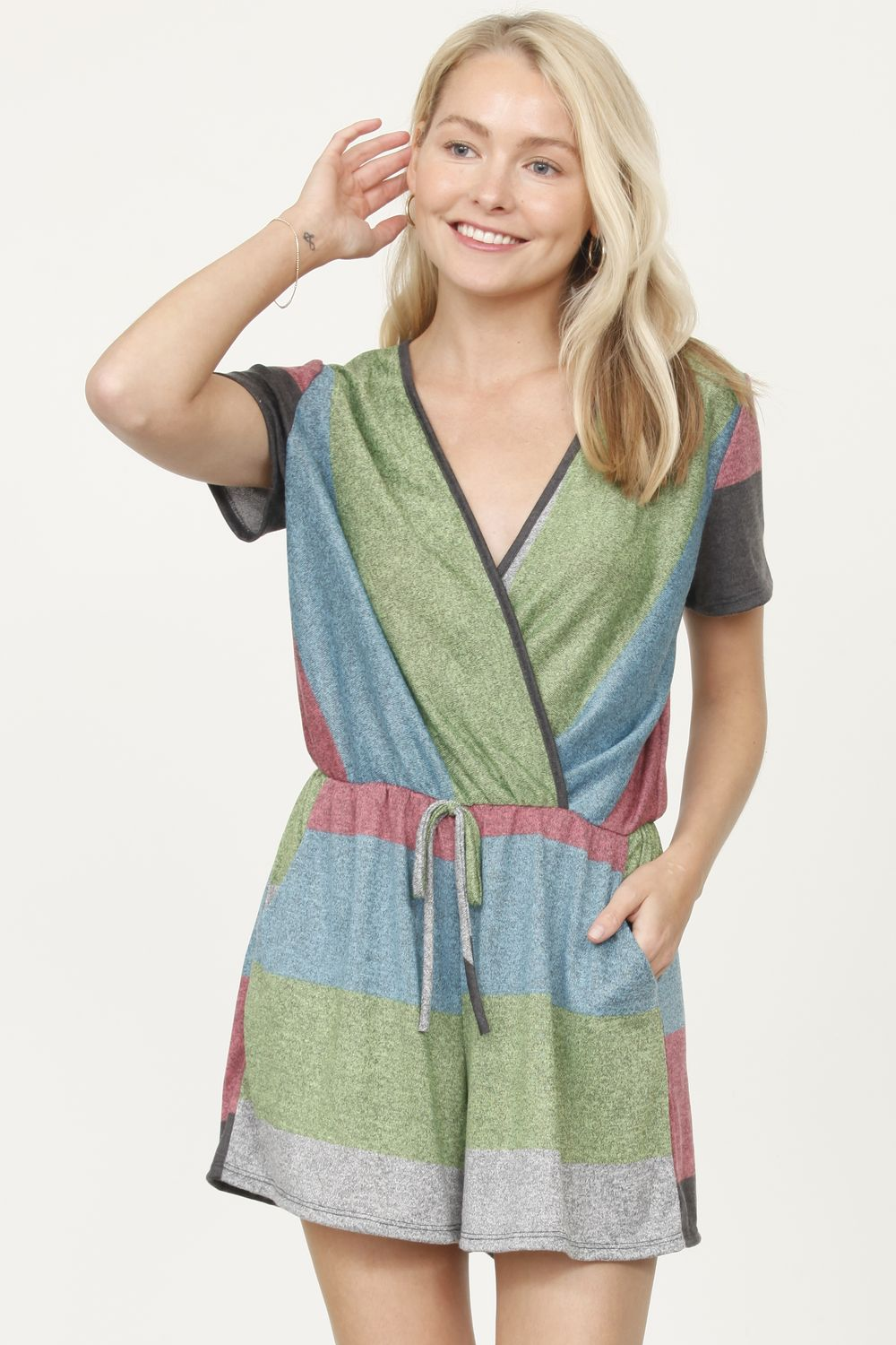 Heather Sage & Mint Short Sleeve Surplice Romper