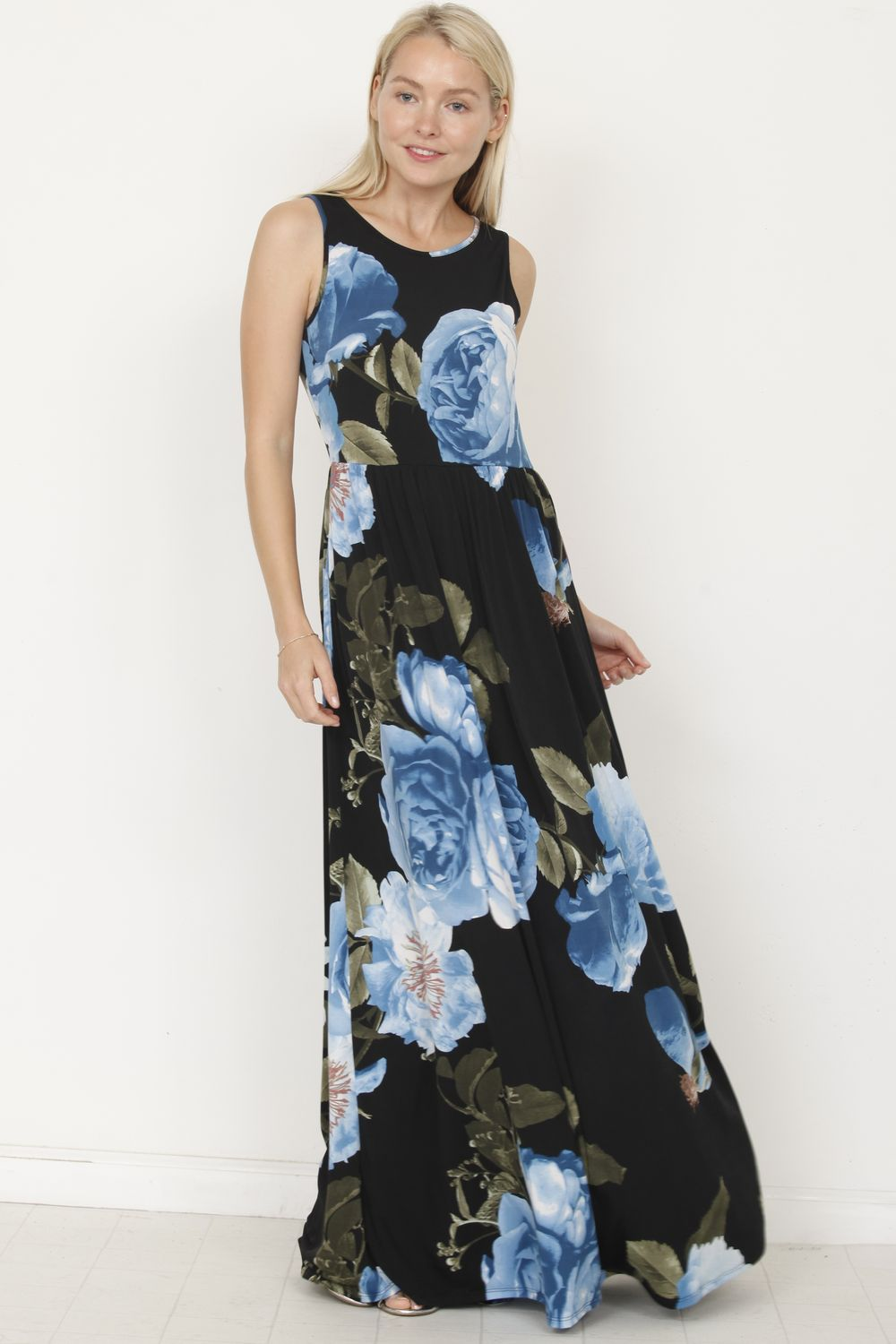 Navy Blue Floral Sleeveless Maxi Dress