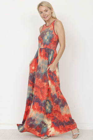 Coral & Teal Tie Dye Sleeveless Maxi Dress