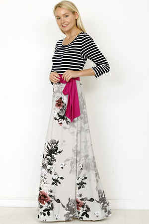 Magenta Sash Grey Maxi Dress