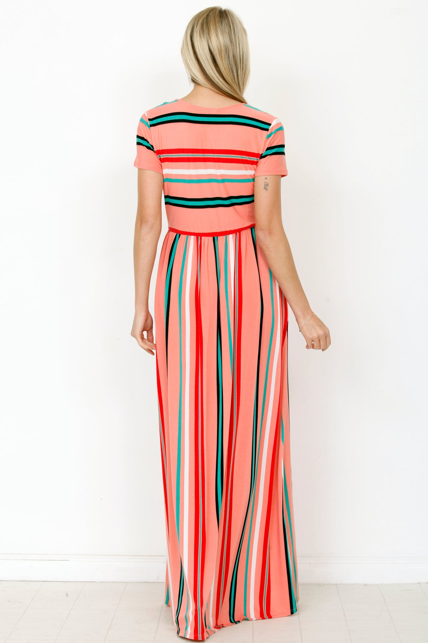 Coral Multi Stripe Short Sleeve Maxi Dress