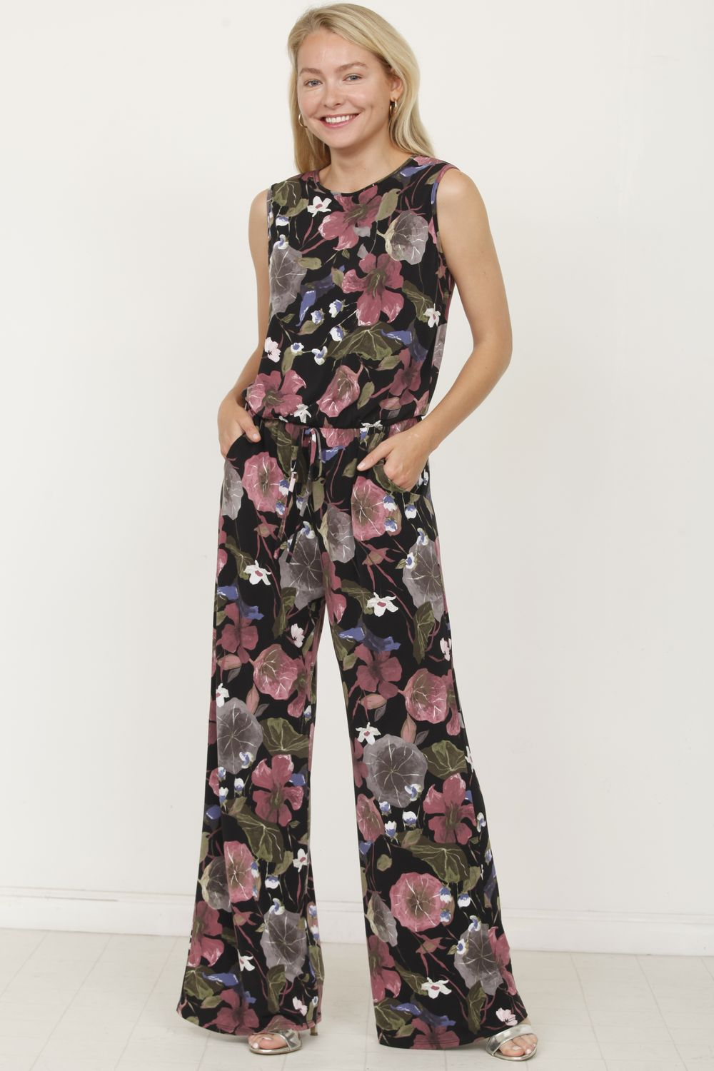 Black & Dark Pink Floral Sleeveless Jumpsuit_Plus
