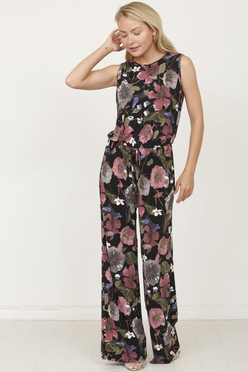 Black & Dark Pink Floral Sleeveless Jumpsuit