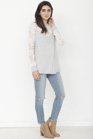 Grey & Ivory Lace Panel Sleeve Top_Plus