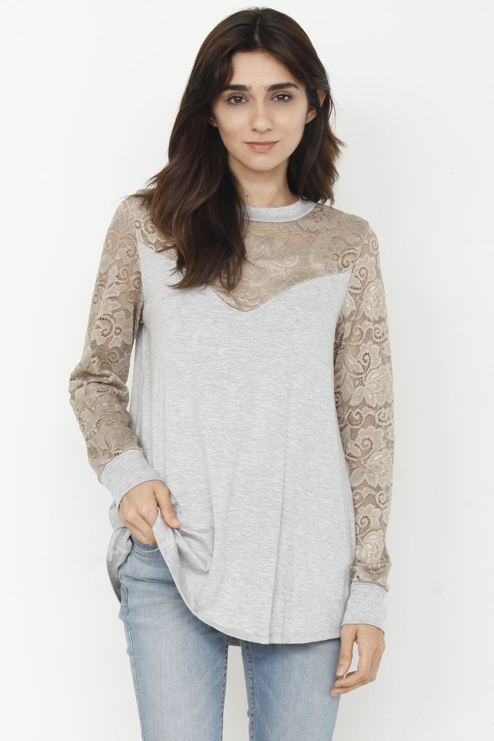 Grey & Gold Lace Panel Sleeve Top_Plus