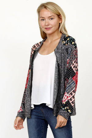 Charcoal Multi Pattern Sleeve Bomber Jacket_Plus
