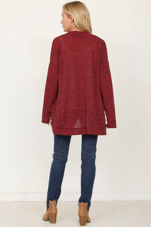 Burgundy Slouch Ribbed Open Cardigan