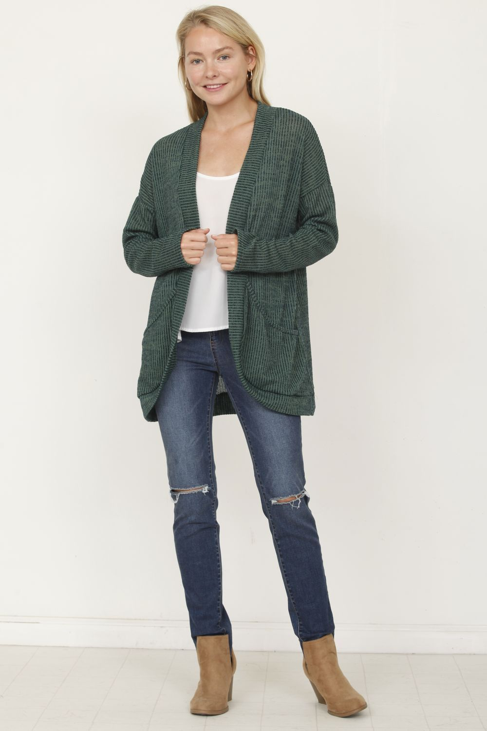 Slouch Ribbed Open Cardigan