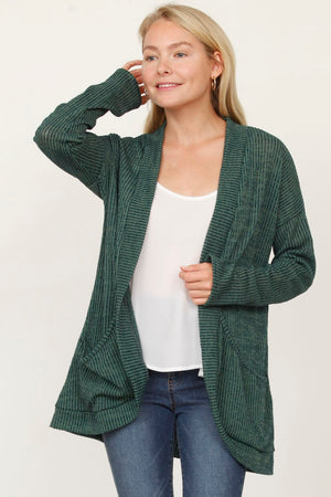 Green Slouch Ribbed Open Cardigan