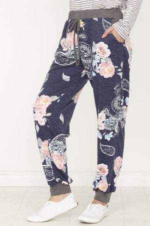 Navy Paisley Floral Jogger