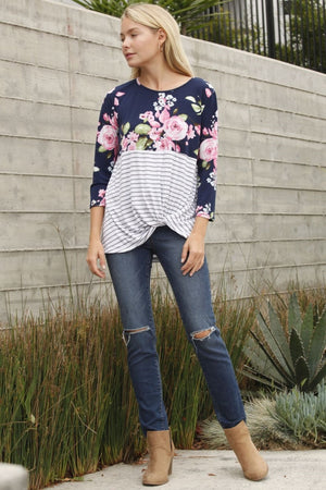 Navy Floral Stripe Twist Hem Tunic